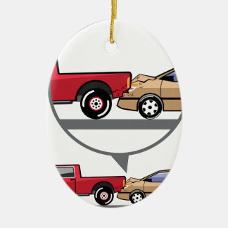 Accident Truck and Wagon Suv Wreck Ceramic Ornament