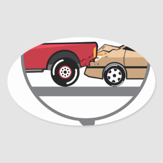 Accident Truck and Wagon Suv Wreck Oval Sticker