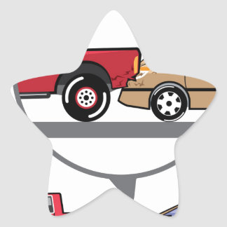 Accident Truck and Wagon Suv Wreck Star Sticker