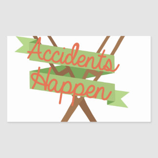 Accidents Happen Crutches Rectangular Sticker