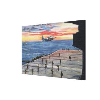 Acción a bordo portaaviones - marina de guerra de  lona envuelta para galerías
