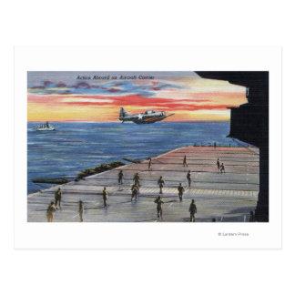 Acción a bordo portaaviones - marina de guerra de postales