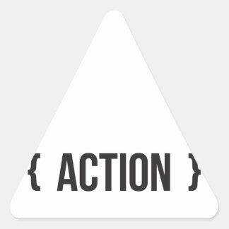 Acción - acorchetada - blanco y negro pegatina triangular