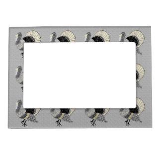 Acción de gracias adornada blanco y negro Turquía Marcos Magnéticos Para Fotos