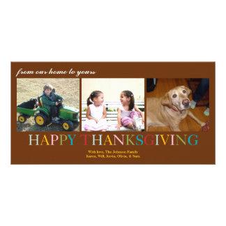 Acción de gracias colorida de nuestro hogar el suy tarjeta fotografica personalizada