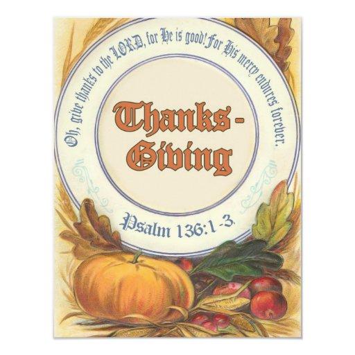 Acción de gracias cristiana del verso de la biblia invitación 10,8 x 13,9 cm