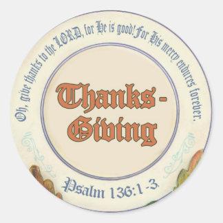 Acción de gracias cristiana del verso de la biblia pegatinas redondas
