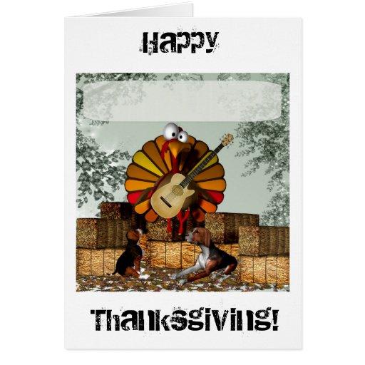 Acción de gracias de la bala de heno de la guitarr tarjeta de felicitación