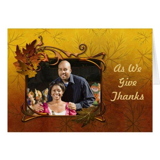 Acción de gracias de las hojas de otoño tarjeta de felicitación