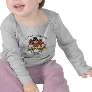 Acción de gracias de Turquía del bebé la primera Camiseta