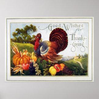 Acción de gracias de Turquía del vintage Póster