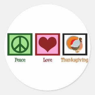 Acción de gracias del amor de la paz pegatina redonda