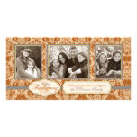 Acción de gracias del damasco del cardo tarjetas con fotos personalizadas