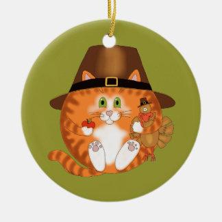 Acción de gracias del gato de la chuchería adorno navideño redondo de cerámica