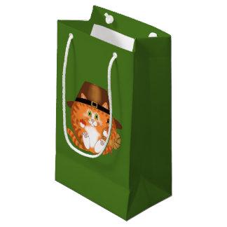 Acción de gracias del gato de la chuchería bolsa de regalo pequeña
