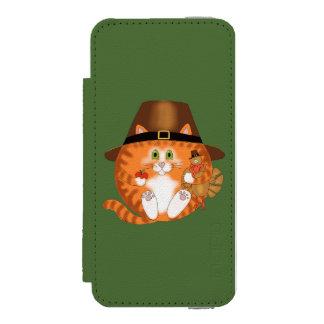 Acción de gracias del gato de la chuchería funda billetera para iPhone 5 watson