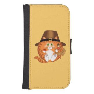 Acción de gracias del gato de la chuchería funda billetera para teléfono