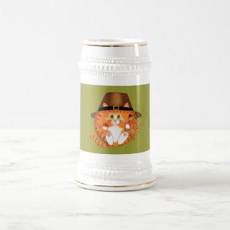 Acción de gracias del gato de la chuchería jarra de cerveza