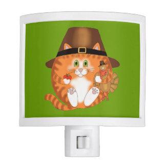 Acción de gracias del gato de la chuchería lámpara de noche
