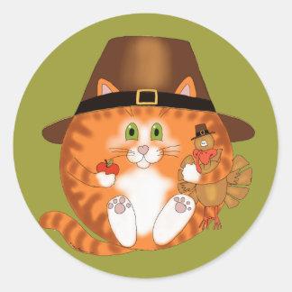 Acción de gracias del gato de la chuchería pegatina redonda
