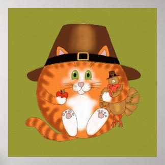 Acción de gracias del gato de la chuchería póster