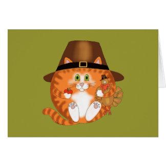 Acción de gracias del gato de la chuchería tarjeta de felicitación