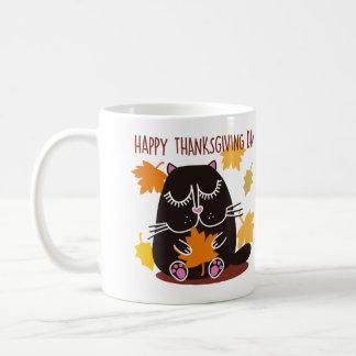 Acción de gracias del gato negro taza clásica