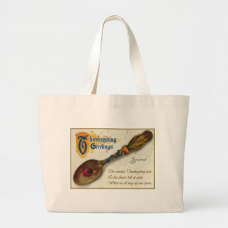 Acción de gracias del vintage - cuchara y verso bolsa