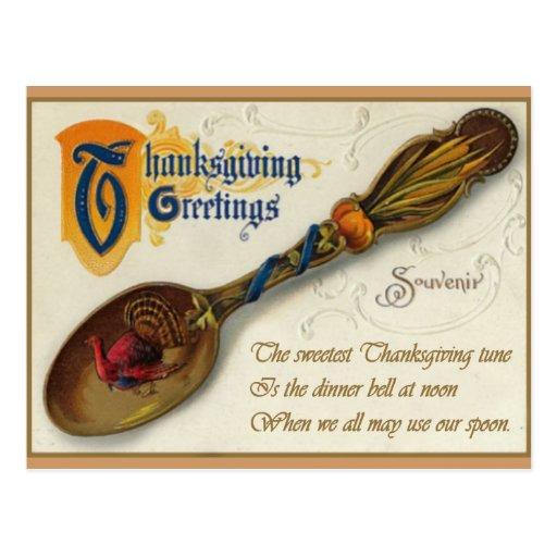 Acción de gracias del vintage - cuchara y verso postales