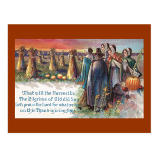 Acción de gracias del vintage de los peregrinos y  tarjeta postal