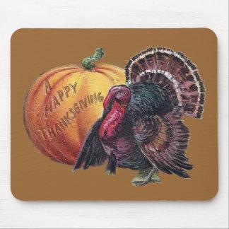 Acción de gracias del vintage de Turquía y de la c Mousepad