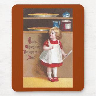 Acción de gracias del vintage del chica y de los mouse pads