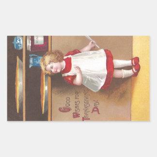 Acción de gracias del vintage del chica y de los pegatina rectangular