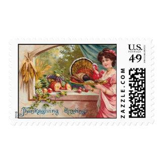 Acción de gracias del vintage sello