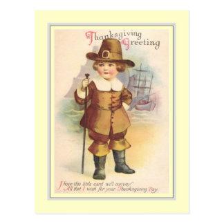Acción de gracias del vintage postal