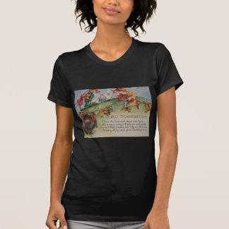 Acción de gracias del vintage - Turquía y verso Tshirt