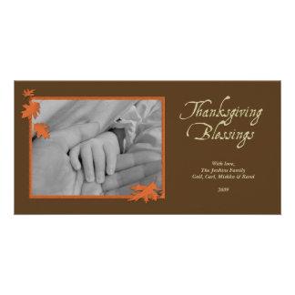 Acción de gracias descendente de las hojas del nar tarjeta fotografica personalizada