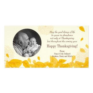 Acción de gracias descendente de las hojas del oto tarjeta personal