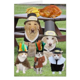 Acción de gracias divertida adaptable del mascota tarjeta de felicitación