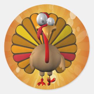 Acción de gracias divertida Turquía Pegatinas Redondas
