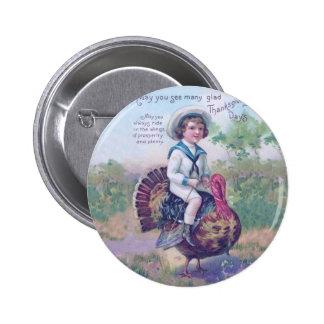 Acción de gracias divertida Turquía Pin Redondo 5 Cm