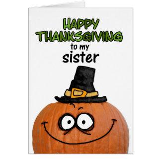 Acción de gracias feliz a mi hermana tarjetas