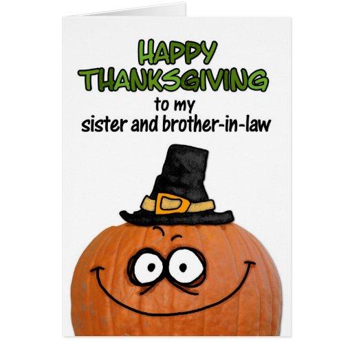 Acción de gracias feliz a mi hermana y cuñado tarjeta de felicitación