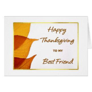 Acción de gracias feliz a mi tarjeta del mejor ami
