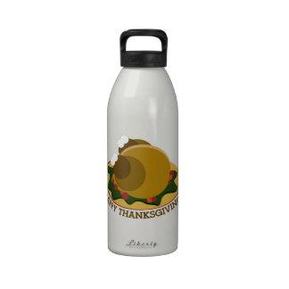 Acción de gracias feliz botella de agua reutilizable