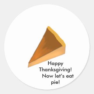 ¡Acción de gracias feliz! ¡Ahora déjenos comen la Pegatinas Redondas