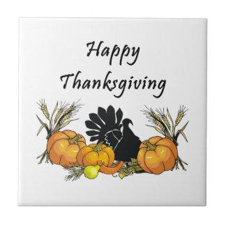 Acción de gracias feliz azulejos