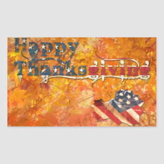 acción de gracias feliz (bandera americana) pegatina rectangular
