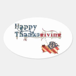 acción de gracias feliz (bandera de la caída) pegatina ovalada