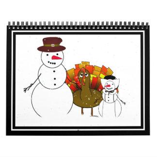 Acción de gracias feliz de los peregrinos Nevado Calendarios
